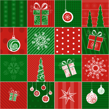Illustration pour Christmas wrapping paper. Seamless pattern for your Christmas design. Red and green boundless background. - image libre de droit