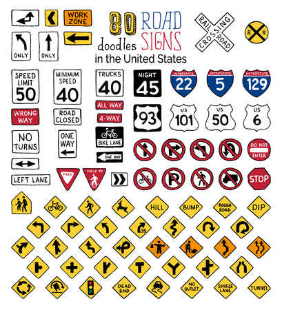 Vector set of cartoon road signs in the United States. Hand-drawn traffic sign icons isolated on white background.