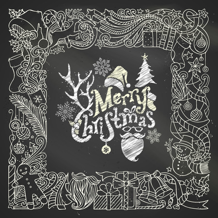 Chalk Merry Christmas frame on blackboard background. Christmas tree and Christmas balls, gifts and bows, snowman, gingerbread man, deer, bells and ribbons, stars, cup, candle, Santa sock, Santa hat, Santa beard and glasses, holly berries, hand-written te