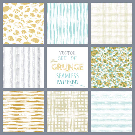 Set of hand-drawn seamless brush strokes patterns. Vector grunge brush strokes backgrounds. Boundless background can be used for web page backgrounds, wallpapers, wrapping papers.