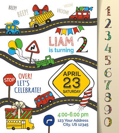Illustration for Vector Birthday invitation template for boy. Hand-drawn doodles cars and traffic signs, balloons and blowouts, garland and sweets, gift and firework. You can use numbers for your invitation design. - Royalty Free Image