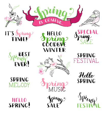 Illustration pour Vector set of hand-written spring brush lettering. Hello spring. Goodbye winter. It's spring time. Best spring ever. Spring melody. Special spring sale. Spring festival. Spring music. Spring is coming. - image libre de droit