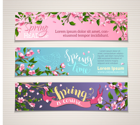 Vector set of vertical spring banners. Pink cherry blossoms and leaves on tree branches. Hand-written brush lettering. Spring time! Spring is coming. There is place for your text.