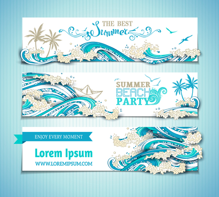 Illustration pour Vector set of sea/ocean horizontal banners. Bright hand-drawn illustration. The best summer. Summer beach party. There is place for text on white background. Seagulls, palms, paper ship and waves. - image libre de droit