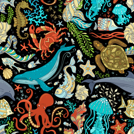 Photo for Vector seamless wild sea life pattern. Colorful octopus, whale, dolphin, turtle, fish, starfish, crab, shell, jellyfish, seahorse, algae on black background. Underwater ocean animals and plants. - Royalty Free Image