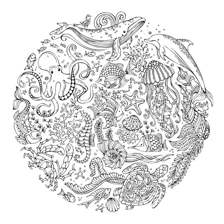 Circle vector set of doodles wild sea life. Contours of whale, dolphin, turtle, fish, starfish, crab, octopus, shell, jellyfish, algae. Underwater animals and plants. Coloring book for adults template.