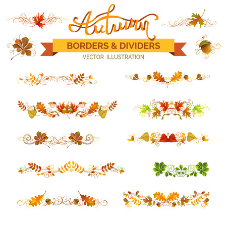 Illustration pour Set of autumn leaves borders, page decorations and dividers. Vector nature design elements isolated on white background. Oak, rowan, maple, chestnut, elm leaves and acorn. Swirls and flourishes. - image libre de droit