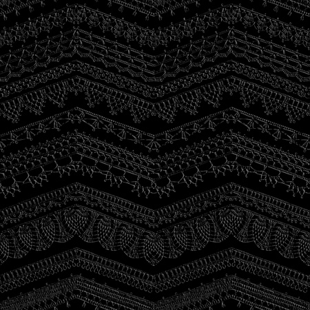 Vector dark crochet seamless pattern. Hand-drawn boundless background. Horizontal zigzag knitted crochet texture, handmade lacy zigzag decorations on black background.