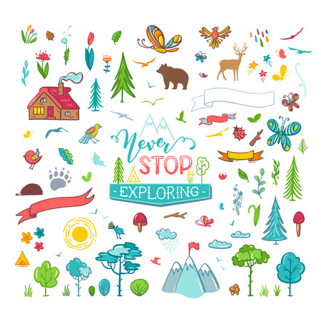 Illustration for Trees, wild animals, mountains, butterflies, flowers, leaves, etc. Illustrations is cartoon style isolated on a white background. Can be used for stickers and patches. - Royalty Free Image