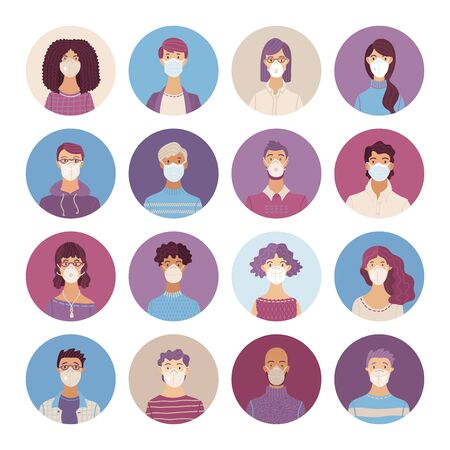 Illustration pour Women and men wearing safety breathing masks icons set. Respirators and medical masks. Disease, flu, coronavirus COVID-19, air pollution, allergies. Vector flat portraits young and aged people. - image libre de droit