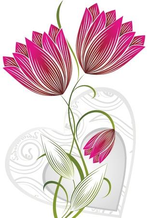 Illustration pour flower with heart - image libre de droit