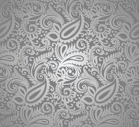 Paisley silver vector wallpaper