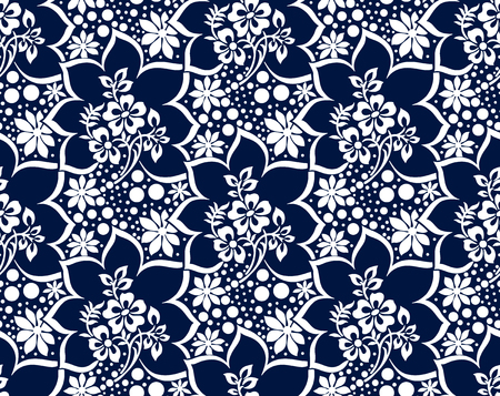 Illustration pour Seamless rich damask dark blue vector wallpaper - image libre de droit