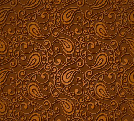 Ilustración de Seamless brown paisley wallpaper - Imagen libre de derechos