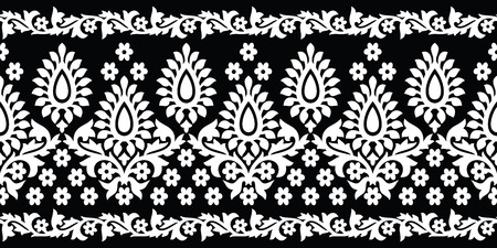 Illustration pour Seamless black and white paisley border - image libre de droit