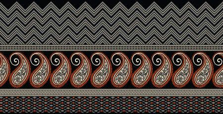 Illustration pour Seamless Asian paisley border with geometrical shapes - image libre de droit