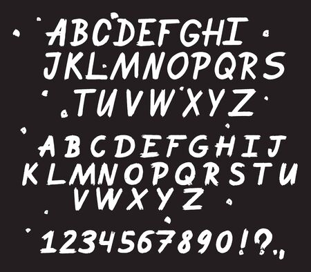 Illustration pour Hand drawn typeface. Painted vector characters: lowercase and uppercase. - image libre de droit
