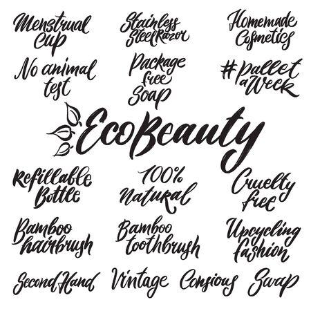 Illustration pour Eco beauty hand written lettering words - image libre de droit