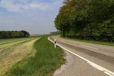 Photo pour Spring landscape with asphalt road in the foreground. - image libre de droit