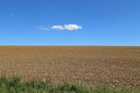 Photo pour A ploughed rocky field and blue sky with a cloud - image libre de droit