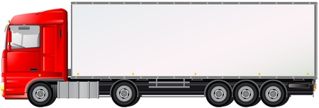 Illustration for isolated red truck on white background with space for text - Royalty Free Image