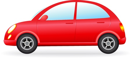 isolated retro red car silhouette, detail