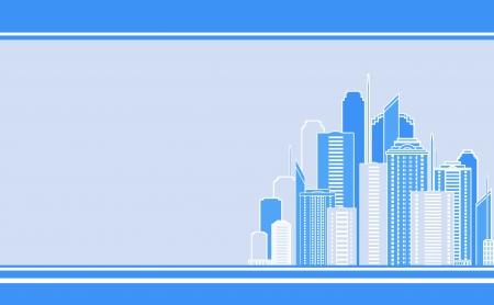 blue business card with city landscape and skyscraper image