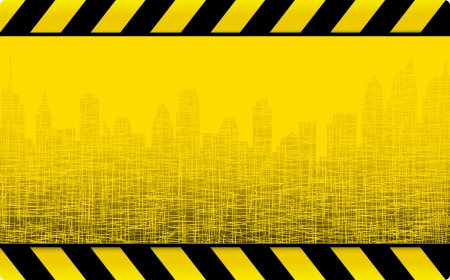yellow grunge construction background with cityscape and skyscrapers