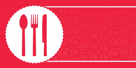 red background with pattern for restaurant menu and plate, fork, knife