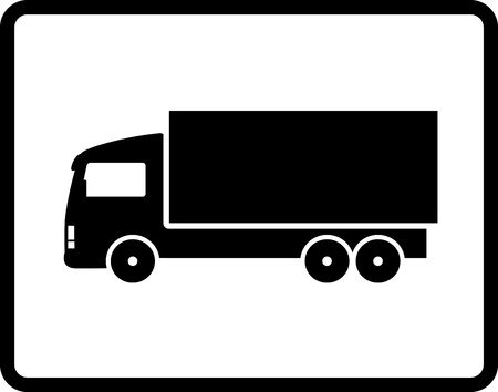 Illustration pour  button with black isolated shipping truck silhouette - image libre de droit