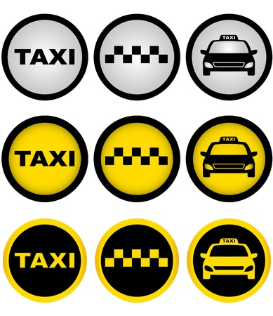 set of colorful taxi signs with cab image: Royalty-free vector graphics