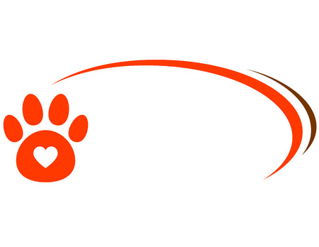 veterinarian background with paw, heart and decorative line