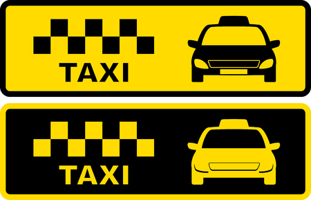 set black and yellow icons with taxi symbol with cars silhouette