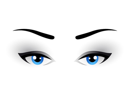 blue woman eyes makeup on white background