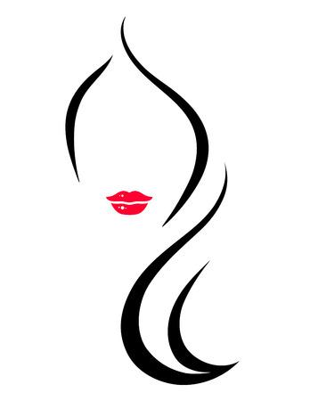 Ilustración de isolated woman face silhouette on white background - Imagen libre de derechos