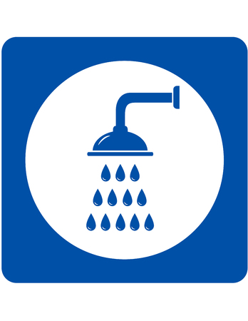 Illustration for shower head sign with blue water droplets - Royalty Free Image