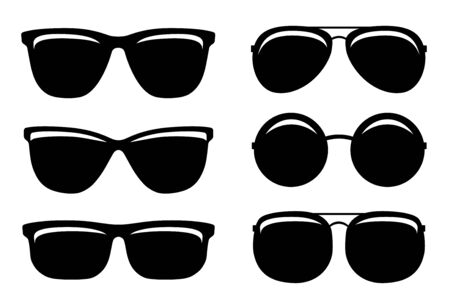 Photo pour black glossy sunglasses summer set icons and glasses silhouette on white background - image libre de droit