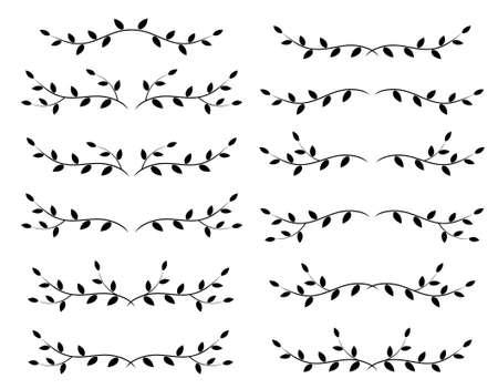 Illustration pour decoratve set of dividers and borders with branches - image libre de droit