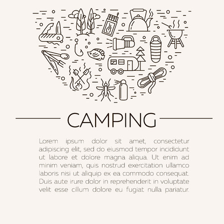 Collection of camping outline icons with place for text. Tourism and hiking objects set: tent, bonfire, folding knife, matches, map, kettle, mosquito repellent, flashlight, compass