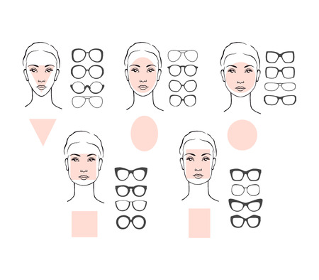 Ilustración de Beauty vector illustration of sunglasses for different faces. Five female face types: round, oval, rectangle, circle, square, triangle - Imagen libre de derechos
