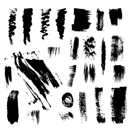 Set of grunge dry brush, line, flourish, stroke. Collection of design elements drawn ink paint, hand drawing. Handmade abstract textures background from brush strokes