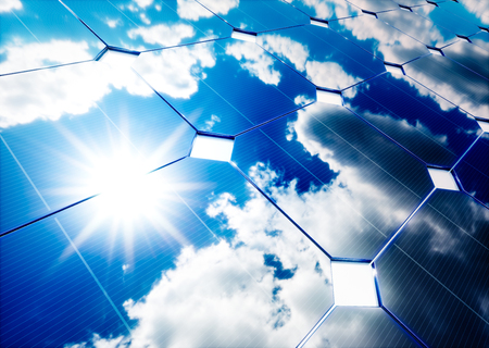 Photo for Solar energy concept. Blue sky reflection on photovoltaic panel. 3D rendering. - Royalty Free Image