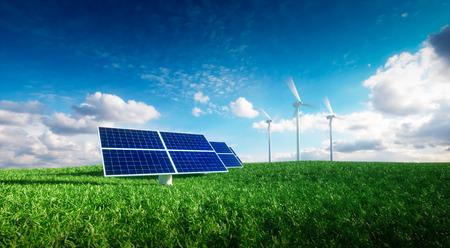 Foto de Renewable energy concept - photovoltaics and wind turbines on a grass filed. 3d illustration. - Imagen libre de derechos