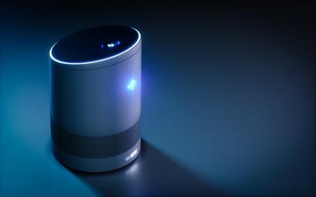 Photo pour Home intelligent voice activated assistant. 3D rendering concept of hi tech futuristic artificial intelligence speech recognition technology. - image libre de droit