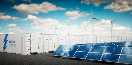 Photo pour Concept of energy storage system. Renewable energy power plants - photovoltaics, wind turbine farm and  battery container. 3d rendering. - image libre de droit