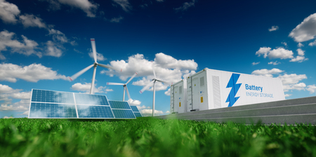 Photo for Concept of energy storage system. Renewable energy - photovoltaics, wind turbines and Li-ion battery container in fresh nature. 3d rendering. - Royalty Free Image