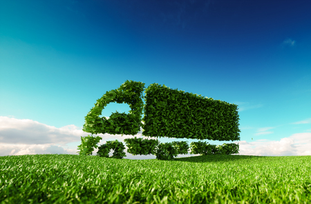 Photo pour Eco friendly transportation concept. 3d rendering of green green truck icon on fresh spring meadow with blue sky in background. - image libre de droit