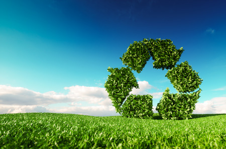 Photo pour Eco friendly recyclation concept. 3d rendering of green recycle icon on fresh spring meadow with blue sky in background. - image libre de droit