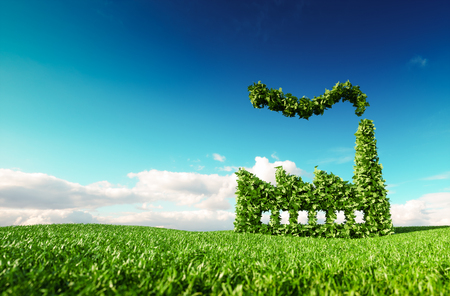 Photo for Eco friendly industry concept. 3d rendering of green factory icon on fresh spring meadow with blue sky in background. - Royalty Free Image