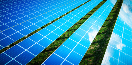 Photo for Beautiful reflection of clouds on blue solar cells of a large solar farm in a warm late afternoon light with fresh green grass under the panels. 3d rendering. - Royalty Free Image